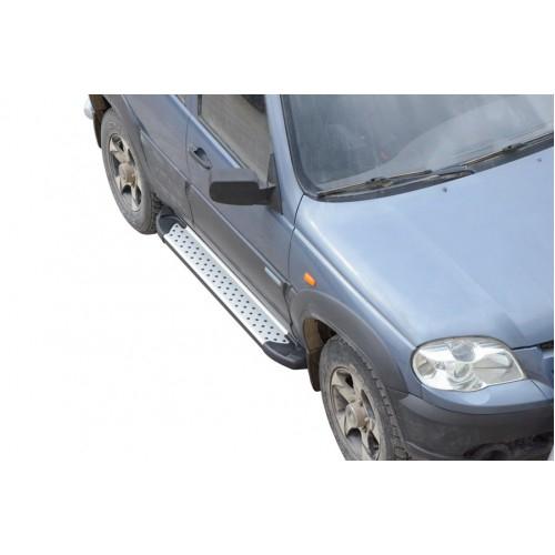 Защита порогов с резинкой алюминиевые RS