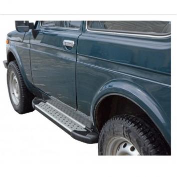 Защита порогов с резинкой алюминиевые